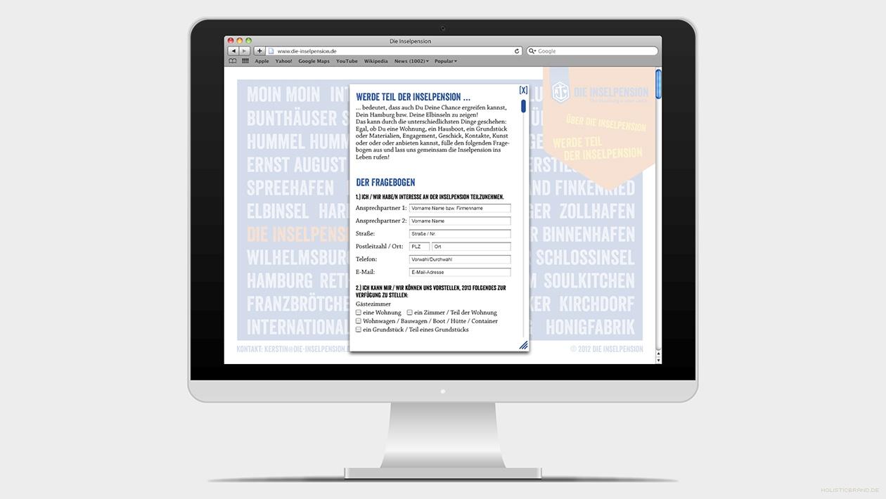 Screenshot einer Website mit Kontaktformular