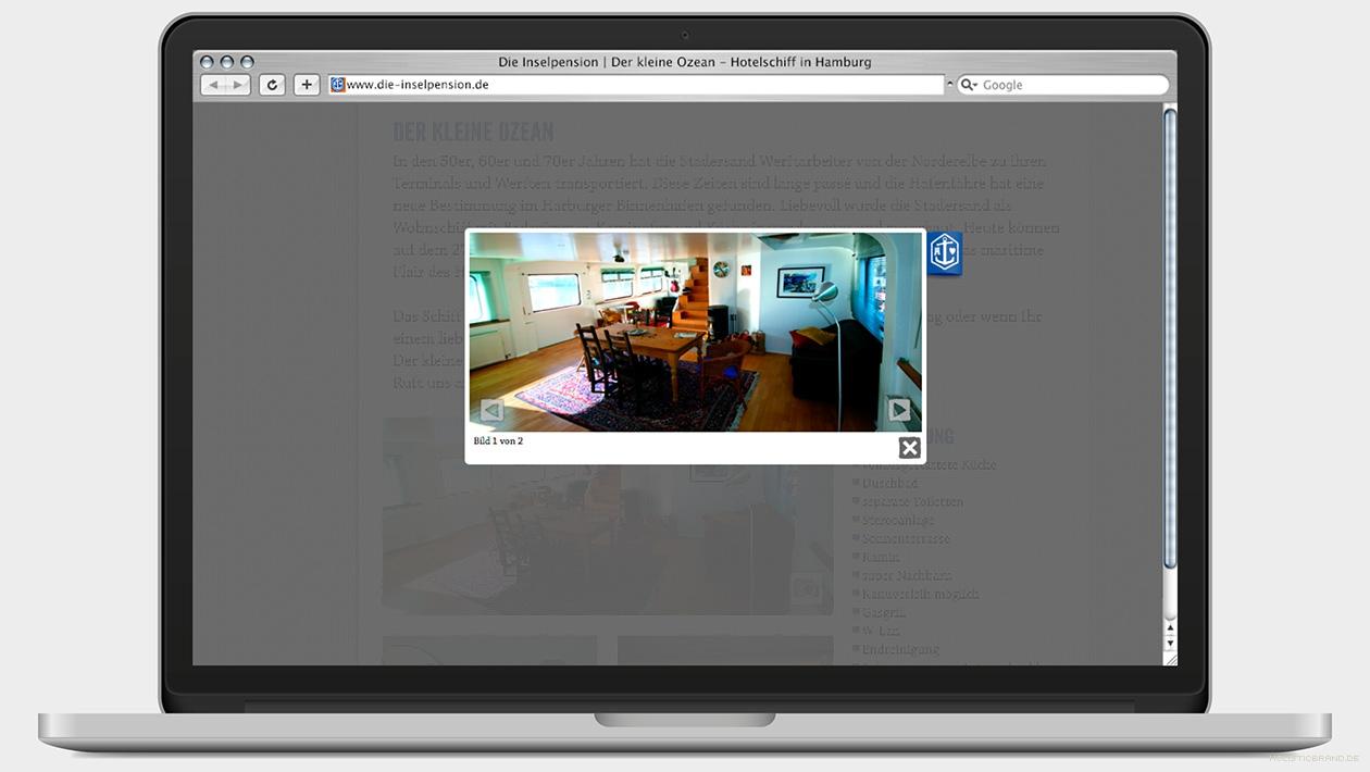 Screenshot einer Website mit Fotogalerie einer Unterkunft