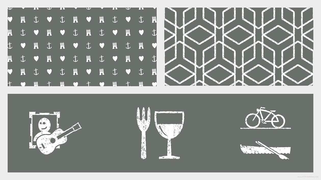 Grafische Detaildarstellung von markentypischen Mustern und Icons