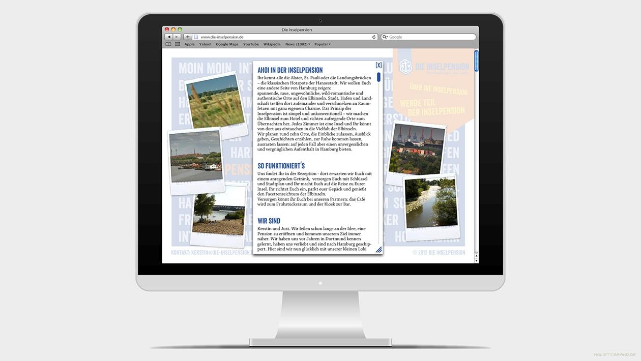 Screenshot einer Website mit Fließtext und Bildern