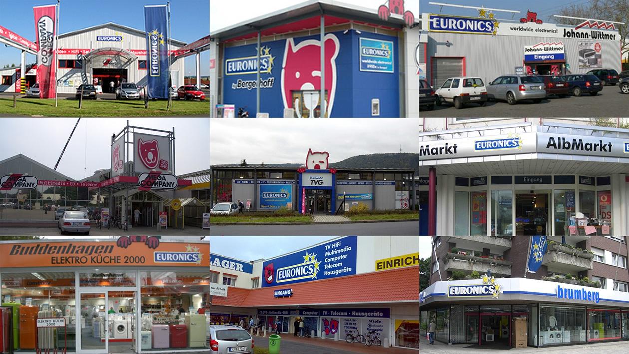 Fotografien von Euronics-Fassaden vor dem Markenrelaunch