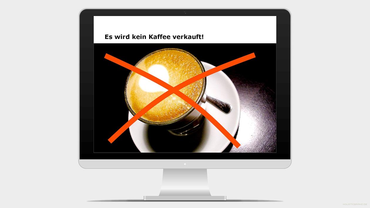 Screenshot aus einer Präsentation mit durchgestrichener Tasse Kaffee