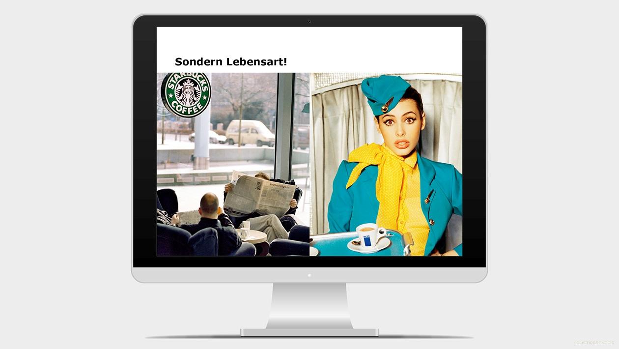 Screenshot aus einer Präsentation mit Stimmungsbildern von Coffeeshopmarken