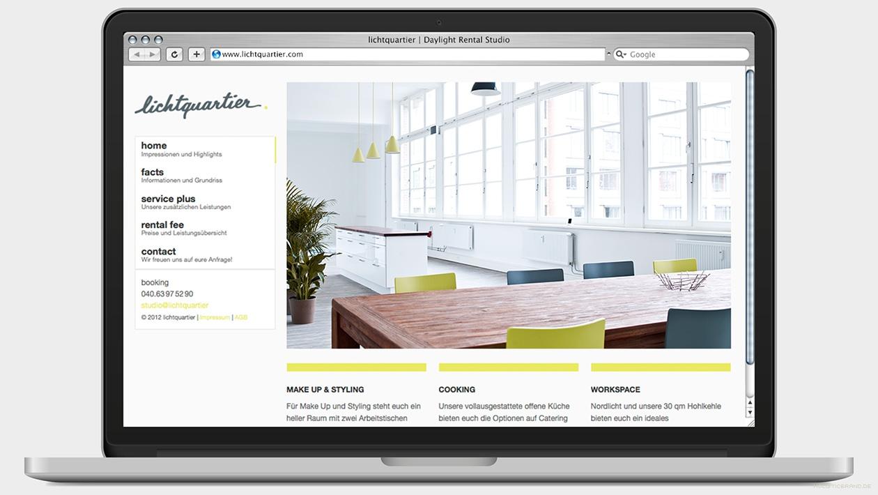 Screenshot der Startseite einer Website