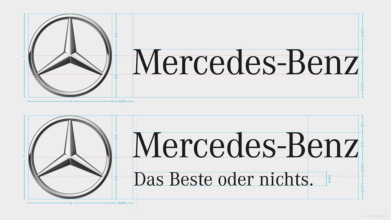 Darstellung zweier Versionen der Wort-Bildmarke mit Proportionsangaben