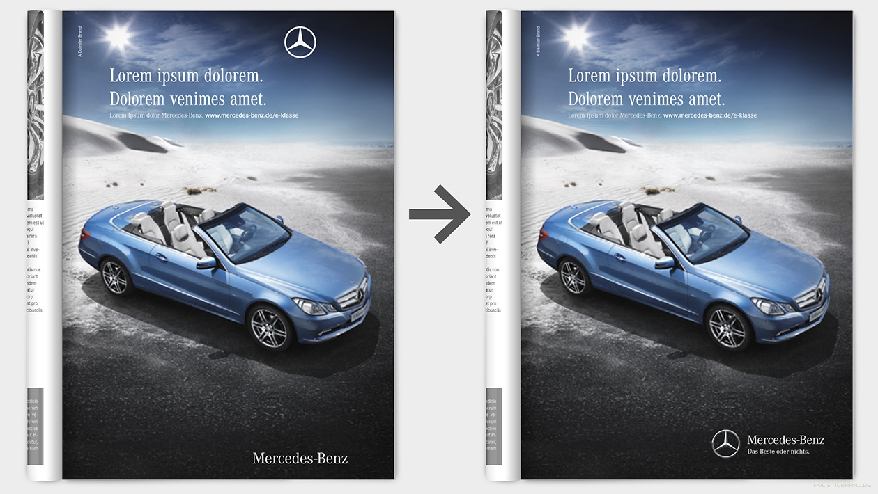 Gegenüberstellung zweier Anzeigenlayouts mit altem und neuen Markenzeichen