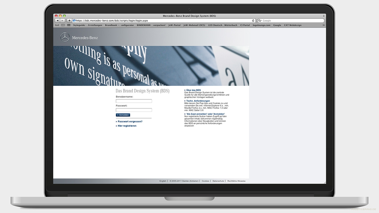 Screenshot des digitalen Anmeldeportals des Brand Design Systems