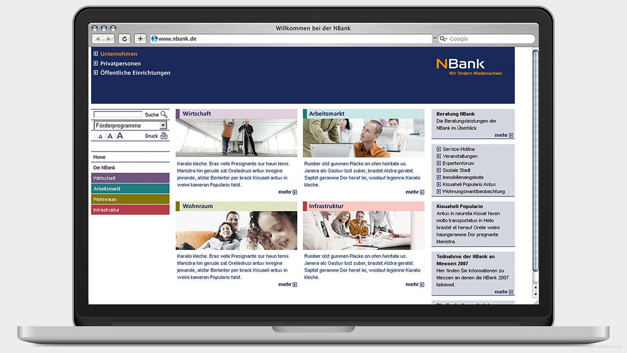 Screenshot einer Website mit vier Beratungsthemen