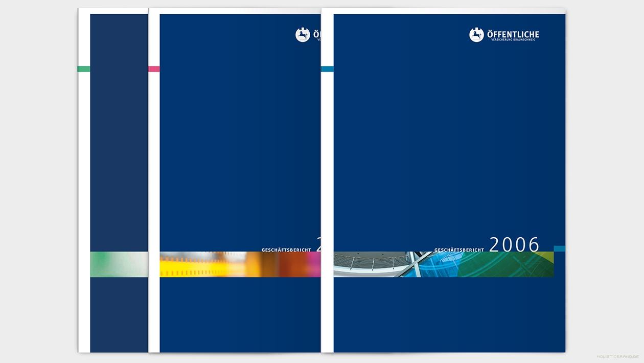 Layout von Titelseiten drei aufeinanderfolgender Geschäftsberichte