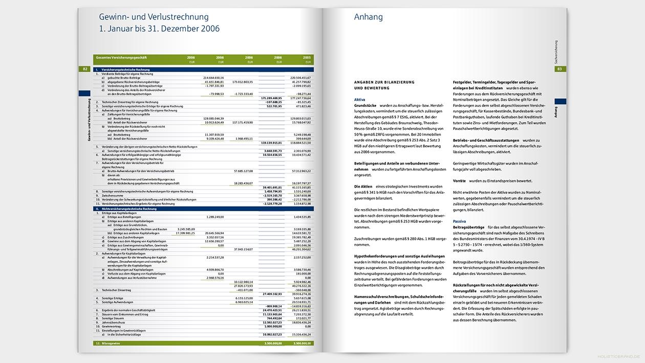 Layout einer Doppelseite mit Text und Tabelle