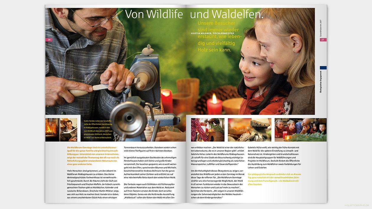 Layout einer Doppelseite mit großflächigem Bild und Text
