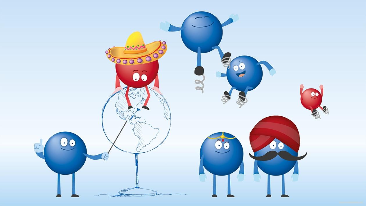 Darstellung von Maskottchen als Symbole für verschiedene Länder