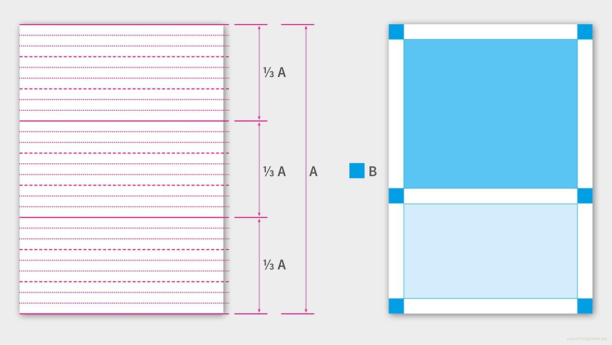 Grafische Darstellung des Layoutprinzip mit Zeilenrastung