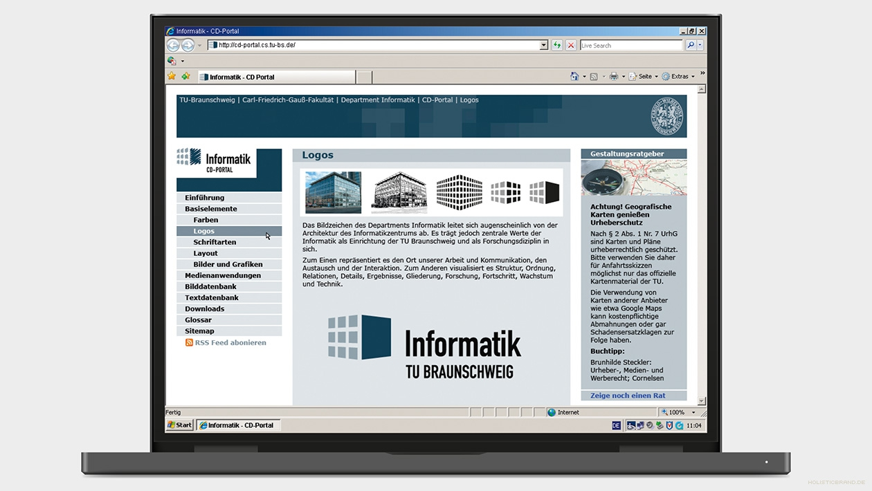 Screenshot einer Website als Corporate Design Portal