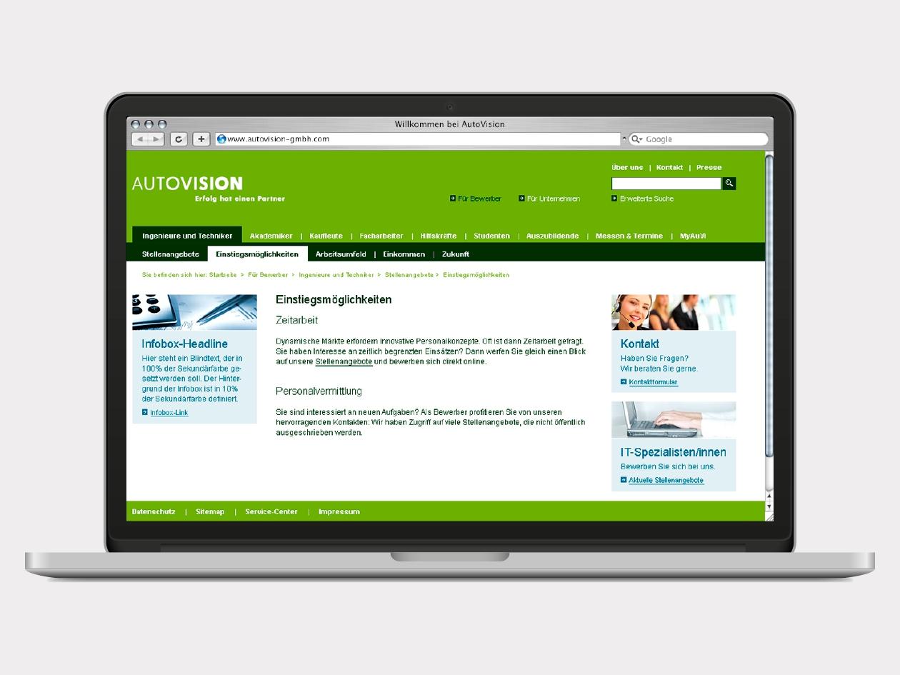 screendesign holistic brand - Autovision Online Bewerbung